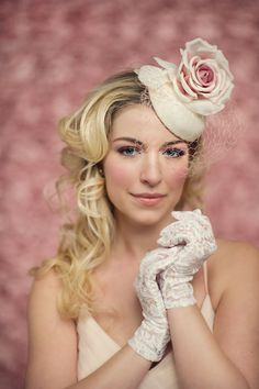 gorgeous pink and ivory wedding fashion with lace gloves and hat styled by @Matty Chuah White Dress by the shore via @Candice Coppola Photography by Carla Ten Eyck http://www.carlateneyck.com