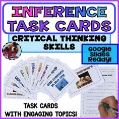Inference Task CardsCritical Thinking Skills10 Engaging Topics! Google Slides ReadyAnswer Key IncludedThis is a 32 page common core-aligned unit that focuses on the critical thinking skill, inferences. The topics are high interest boy topics and girl topics: snakes, space, Golden Retrievers, Superm... Close Reading Lessons, Reading Skills, Teaching Reading, Reading Task Cards, Critical Thinking Skills, Inference, Elementary Teacher, Reading Comprehension, Language Arts