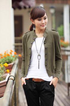 2014 Autumn Womens Plus size Navy Epaulet Mandarin Collar Double Breasted Short Jacket Buttoned Cotton Coat ladies' jackets