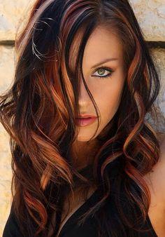 Love her hair color! Hair Color And Cut, Hair Highlights, Orange Highlights, Chunky Highlights, Hair Dos, Gorgeous Hair, Beautiful Eyes, Fall Hair, Pretty Hairstyles