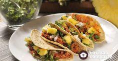 Tacos al pastor vegetarianos al estilo de Marifer Hernández Ballesteros por Cocina al natural - Tacos al pastor vegetarianos hecha por Marifer Hernández Ballesteros. Una receta vegetariana que te dejará pensando que comiste carne.