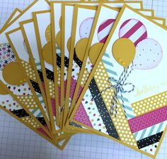 Just Sponge It: It's My Party Washi Tape Swap Card, It's My Party, Washi Tape, Designer Series Paper Pack & Enamel Dots, Balloon Bouquet Punch, Birthdays, DIY, Stampin' Up!