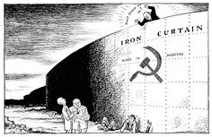 """This political cartoon depicts Churchill's """"Iron Curtain"""". This metaphorical wall symbolizes the division between the democratic West and the socialist East. This idealogical separation was one of the origins of the Cold War. Political Satire, Political Cartoons, World History, World War, Cold War Propaganda, Berlin, Arms Race, Into The West, Eastern Europe"""