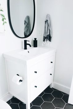 Our Master Bathroom Fixer Upper & Simply Well Spent & Ikea Hemnes Vanity in White and Odensvik Sink & Dark Grey Hexagon Floor Tile & & The post Our Master Bathroom Fixer Upper — Simply Well Spent appeared first on MM Bathrooms. Grey Bathrooms, Small Bathroom, Bathroom Black, Mirror Bathroom, Dark Floor Bathroom, Bathroom Cabinets, Master Bathrooms, Bathroom Yellow, Bathroom Fixer Upper