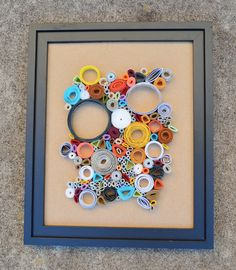 Quilled Circle Rolled Paper Art in Black Frame