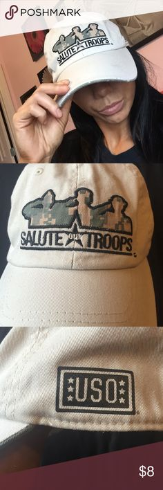 ☀️Salute our troops USO hat Khaki and camouflage Salute our Troops USO hat from kangaroo express. Accessories Hats