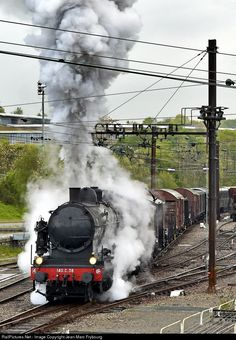 Net Photo: 38 SNCF at Limoges, France by Jean-Marc Frybourg Train France, Huff And Puff, Old Trains, Steam Locomotive, Photos, Around The Worlds, French, Paths, Steam Engine