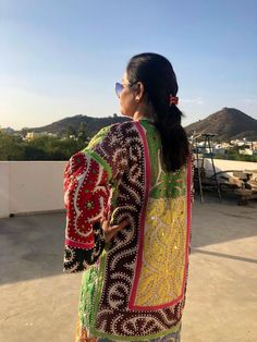 Excited to share the latest addition to my shop: Sequined applique patchwork coat / multicoloured unique kimono robe / antique vintage embroidered long coat / suzani coachella coat Hand Embroidery Dress, Applique Dress, Pakistani Dress Design, Pakistani Dresses, Designs For Dresses, Dresses For Sale, Purple Clutch Bags, Balochi Dress, Chinese Fabric