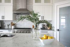 Modern Farmhouse Kitchen — Interiors By Sarah Langtry Farmhouse Kitchen Interior, Modern Farmhouse Kitchens, Home Kitchens, Farmhouse Style, Narrow Kitchen, New Kitchen, Kitchen Ideas, Kitchen Inspiration, Quartz Kitchen Countertops