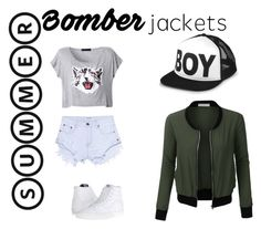 """#bomberjackets"" by altrisa-mulla ❤ liked on Polyvore featuring LE3NO, One Teaspoon, Vans, BOY London and bomberjackets"