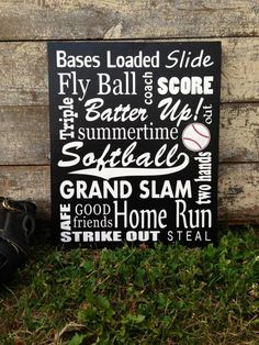 Hey, I found this really awesome Etsy listing at http://www.etsy.com/listing/155698943/softball-sign-wood