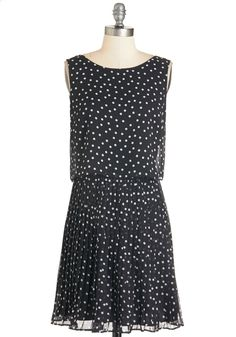 Speckled Effect Dress. You make entertaining look effortless in this white-dotted frock. #black #modcloth