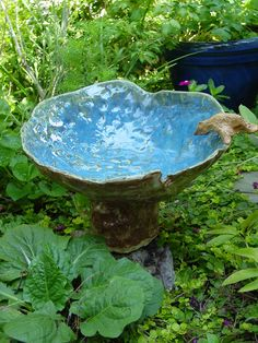 Bird Bath, Bright Leaf Pottery, via Etsy.