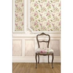 Seabrook Wallpaper CB92201F - Carl Robinson 9-Romantique - Floral Rose Design fabric shown in Accent chair