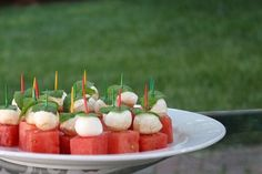 For a refreshing Summer appetizer, make these watermelon mozzarella bites. Easy pick up food for dining al fresco. Get the recipe for and make this weekend.