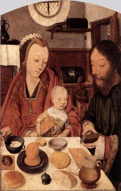 JAN MOSTAERT - MAESTRO DE OULTREMONT - JOANNES SINAPIUS LA SAGRADA FAMILIA 1500