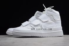 Air Jordan 1 High Double Strap White AQ7924-100  This no-laces twist on the original Air Jordan 1 features a unique blend of modern and iconic. One pair comes dressed in White and the other in Black. Both are completed with dual velcro straps, Nike Air tongue labels, perforated toes, Wings and Nike Swoosh logos. Air Jordan Retro, Zapatos Air Jordan, Air Jordan Shoes, Nike Air Max, Air Jordan 11 Bred, Nike Kobe, Original Air Jordans, Nike Shoes, Sneakers Nike