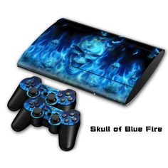 Top sales Skull of blue fire PVC protective skin stickers for PS3SLIM 4000  #Affiliate