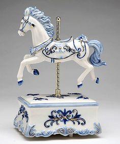 Blue Carousel Horse 'Canon in D' Music Box