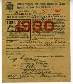 Old hunting license and duck stamps vintage outdoor gear for Wisconsin out of state fishing license
