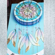 Dream catcher cake, did this one for bday. Pretty Cakes, Cute Cakes, Beautiful Cakes, Amazing Cakes, Dream Catcher Cake, Dream Catchers, Fondant Cakes, Cupcake Cakes, Native American Cake