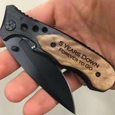 5th Anniversary Gift for him!  This is it, a gift made of wood!  Engrave our wood handle pocket knife with a special personalized message to celebrate your fifth anniversary.  5 years down, Forever to go!  We can customize any message you would like!