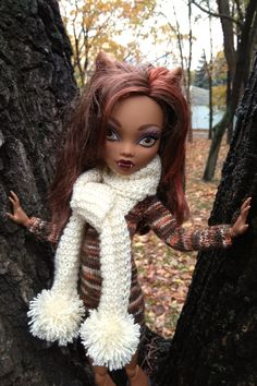 This handmade doll outfit fits 17 inch Monster High and 17 inch Ever After HIgh dolls.  This listing includes 2 pieces:   - hand-knitted melange brown dress with long sleeves. This dress is made of acrylic yarn. For convenience the dress is fastened at the back.   - hand-knitted cream scarf with pompoms. It's made of of acrylic yarn.  Monster High Doll Clothes, Monster High Dolls, Pompom Scarf, Etsy Handmade, Handmade Items, Handmade Clothes, Handmade Gifts, Original Gifts