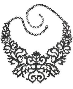 Thalia Sodi Necklace, Jet-Tone Lace Bib Necklace - Jewelry & Watches - Macy's