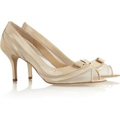 Oscar de la Renta Daniela patent-leather and mesh pumps (£282) found on Polyvore