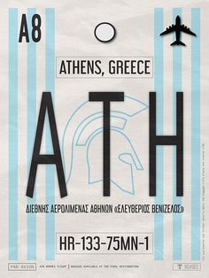 VINTAGE ATHENS LUGGAGE TAG POSTER This white and blue retro Athens airport code poster is inspired by vintage baggage claim tags, rich Greek culture and history and my favourite thing in the world - travel. All my luggage tag posters are carefully designed with destinations