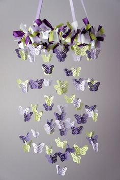 Butterfly Mobile in Purple, Lavender, and Green would be great hanging over tables