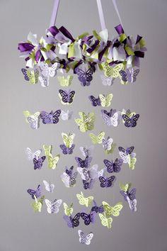 Butterfly Mobile in Purple Lavender Green by LoveBugLullabies, $55.00