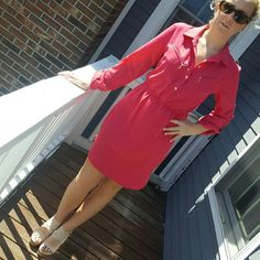 Pink mini dress Lined underneath.  Worn 2 times XOXO Dresses Long Sleeve