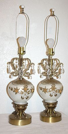 Vintage Stunning Pair of Glass Lamps, Cast Brass Hard Ware, Lead Crystal Drops