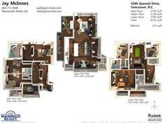 Three floors floor plan