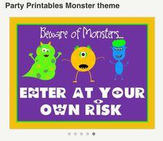 Door hanger for monster theme party