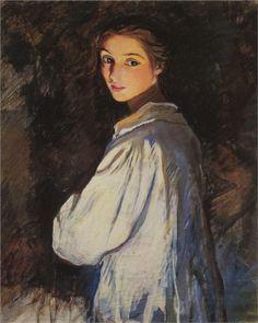 Girl with a candle. Self portrait, 1911 Zinaida Serebriakova - WikiPaintings.org