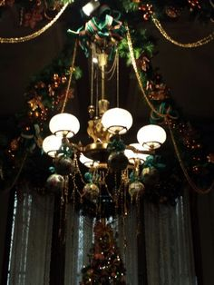 Victorian Christmas chandelier at The Glenview Mansion at The Hudson River Museum, Yonkers, NY