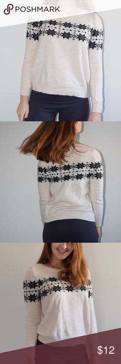 """H&M Snowflake Sweater size S White H&M Sweater with black snowflakes on it, true to size. I once wore this for an Ugly Sweater themed event and some girl snapped, """"that's not ugly enough to be an ugly sweater"""". A compliment for the sweater I guess, but I was embarrassed and I never wore it again. Moral of the story, don't try to look cute at an ugly sweater event. Other point of this story is that it was only worn once and is in like-new condition. H&M Sweaters Crew & Scoop Necks"""