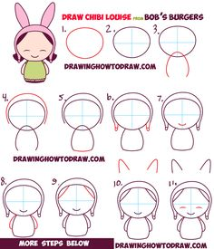 how to draw kawaii chibi louise from bob's burgers easy step by step drawing…
