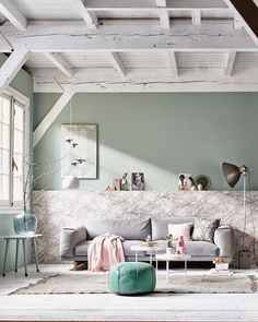 Pastel and marble living room with light blue accessories / grey couch / white wooden floor Pastel Interior, Interior Styling, Interior Design, Interior Photo, Modern Interior, Living Room Interior, Home Living Room, Living Spaces, Living Furniture