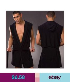 Sleepwear  amp  Robes Mens Bathrobe Silk Pajamas Hooded Robe Bathrobe  Leisure Sleepwear Robes Size S-L 9c0bc3499