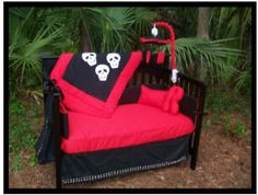 Red black and white gothic skull baby crib bedding set for the goth punk nursery