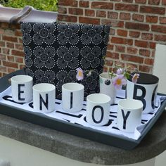 enjoy! Design Letters mugs and Ming black tea cosy from RosenbergCPH all available @ http://www.kleuroptafel.nl