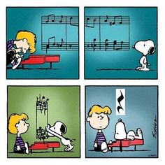 Monday with Schroeder and Snoopy Snoopy Cartoon, Snoopy Comics, Peanuts Cartoon, Peanuts Snoopy, Peanuts Comics, Music Jokes, Music Humor, Funny Music, Snoopy Love