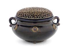Incense burner, 19th century (Edo period or Meiji era). Stoneware with iron glaze; silver lid.