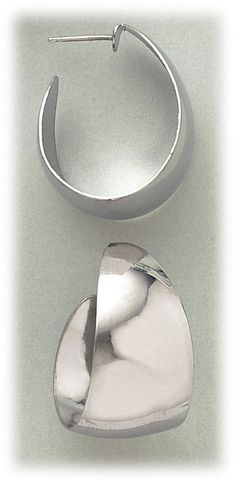 Simply Whispers hypoallergenic and nickel free Jewelry Pierced earrings silver stainless steel posted extra wide smooth hoop