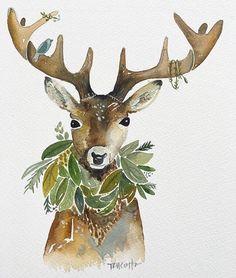 TrueCotton art Reindeer watercolor with wreath and bird. Natural Christmas, Christmas Deer, Christmas And New Year, Christmas Themes, White Christmas, Vintage Christmas, Christmas Crafts, Merry Christmas, Christmas Images