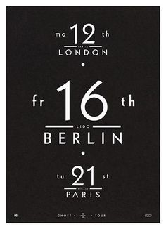 #graphic #design #date #calendar #berlin #London #paris #typography #tipografia #poster #typeface