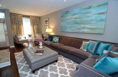 grey and turquoise living room | Gorgeous turquoise and grey living room